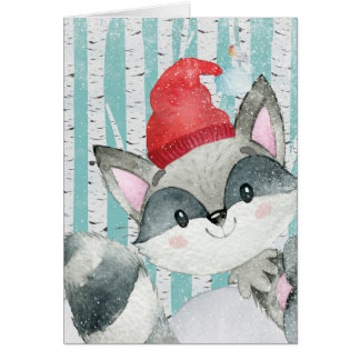 Woodland Animal Friends in Winter Forest- Racoon Card