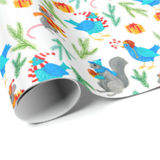 Woodland animal holiday gifts wrapping paper
