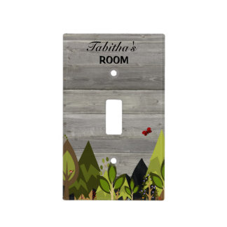 Woodland Animal Nursery Rustic Light Switch Cover