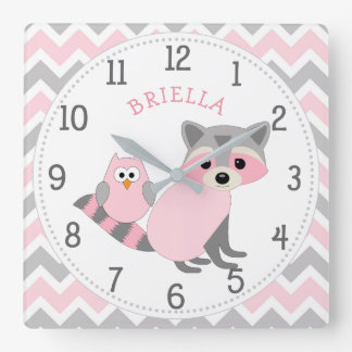 Woodland animal theme girl baby nursery decor square wall clock