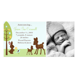 Woodland Animals Baby Birth Announcements Customized Photo Card