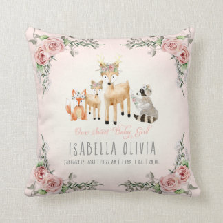 Woodland Animals Baby Girl Birth Info Watercolor Throw Pillow