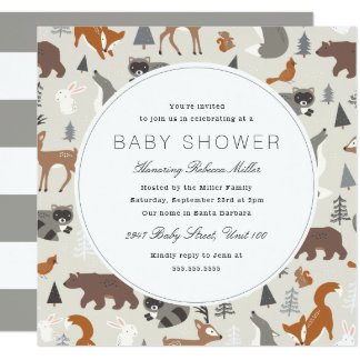 Woodland Animals Baby Shower Card