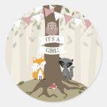Woodland Animals Baby Shower - Girl Round Sticker