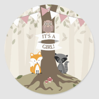 Woodland Animals Baby Shower - Girl Round Sticker