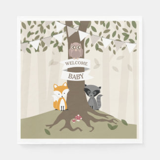 Woodland Animals Baby Shower - Neutral Paper Napkin