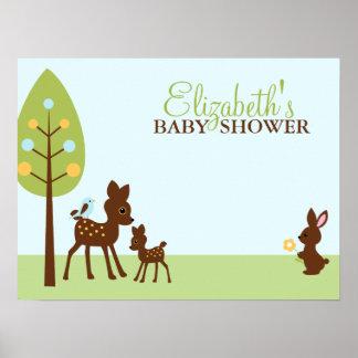 Woodland Animals Baby Shower Poster