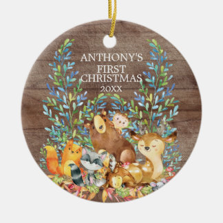 Woodland Animals Baby's First Christmas Ornament