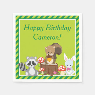 Woodland Animals Birthday Party Disposable Napkins
