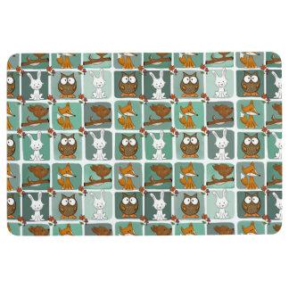 Woodland Animals Block Pattern Floor Mat