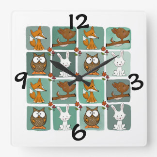 Woodland Animals Block Pattern Square Wall Clock