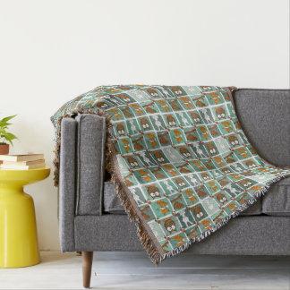 Woodland Animals Block Pattern Throw Blanket