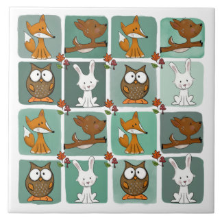 Woodland Animals Block Pattern Tile