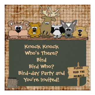 Woodland Animals Custom Birthday Invitation