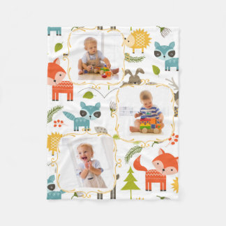 Woodland Animals Custom Kids Photos Blanket