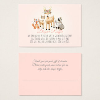 Woodland Animals Deer Raccoon Fox Diaper Raffle Business Card
