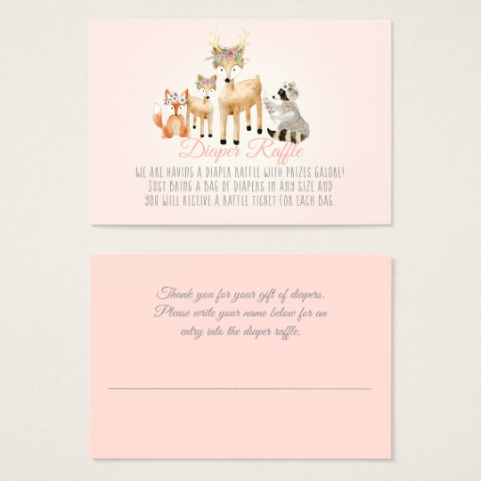 Woodland Animals Deer Raccoon Fox Diaper Raffle Business Card