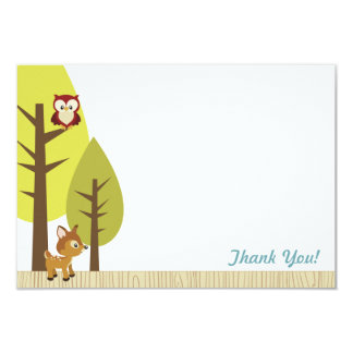 "Woodland Animals Flat Thank You Card 2 3.5"" X 5"" Invitation Card"