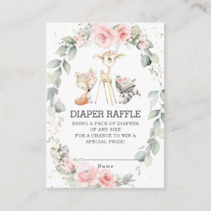 Woodland Animals Floral Greenery Diaper Raffle Enclosure Card