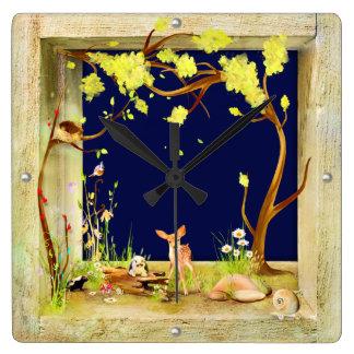 woodland animals forest in a box clock night scene
