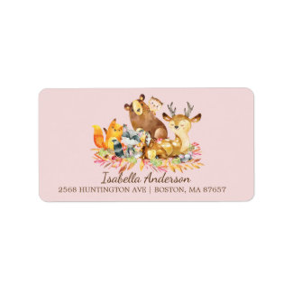 Woodland Animals Girls Baby Shower Address Label