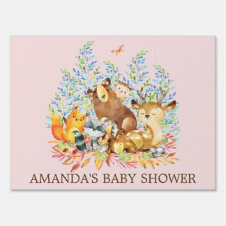 Woodland Animals Girls Baby Shower Yard Sign