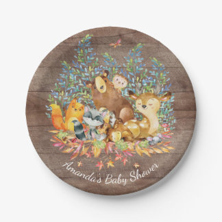 "Woodland Animals Neutral Baby Shower 7"" Plate"