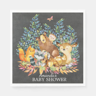 Woodland Animals Neutral Baby Shower Paper Napkins