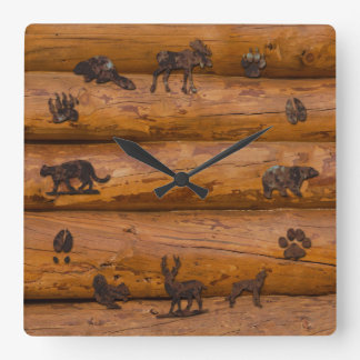 Woodland Animals on Logs Square Wall Clock
