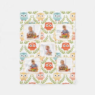 Woodland Animals Owls Custom Kids Photos Blanket