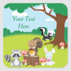 Woodland Animals Party   Personalized Square Sticker