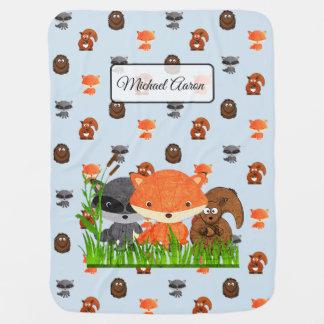Woodland Animals Personalized Baby Boy Blanket
