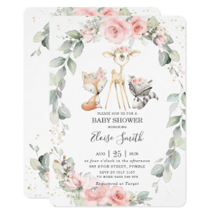 Woodland Baby Shower Invitation Fox and Mouse Baby Shower Invitations Gender Neutral Baby Shower Printed Invitation