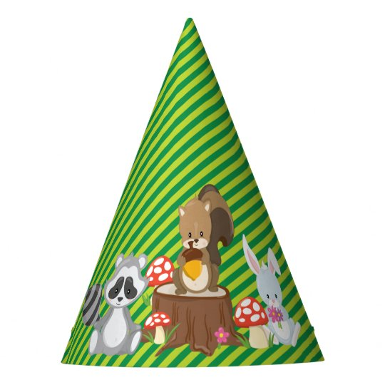 Woodland Animals | Raccoon | Squirrel | Rabbit Party Hat