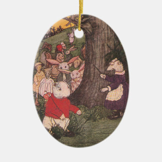 Woodland Animals Return to School Ceramic Oval Ornament
