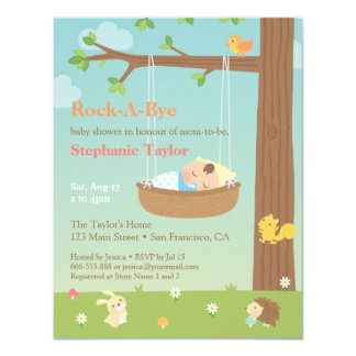 Woodland Animals Rock A Bye Baby Shower Card