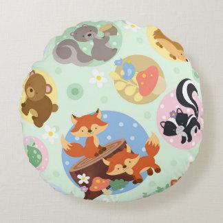 Woodland Animals Round Pillow