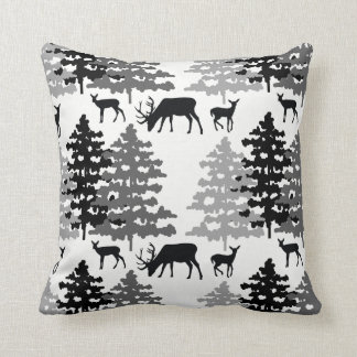Woodland Animals Rustic Deer Antlers Winter Forest Throw Pillow