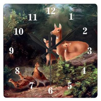 Woodland Animals Square Wall Clock