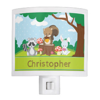 Woodland Animals | Squirrel Rabbit | Personalized Night Lites