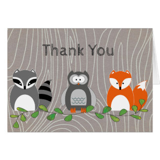 Woodland Animals Thank You Note Card