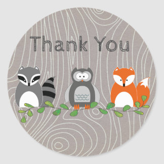 Woodland Animals Thank You Sticker