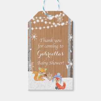 Woodland Animals With Birch Trees Gift Tag