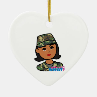 Woodland Army Camouflage Ceramic Heart Ornament