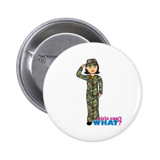 Woodland Army Camouflage Girl Pinback Button