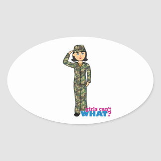Woodland Army Camouflage Girl Oval Sticker