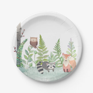 Woodland Baby Animals Greenery Baby Shower Party 7 Inch Paper Plate