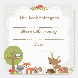 Woodland Baby Shower Bookplate sticker gray