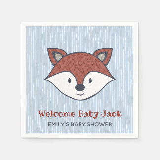 Woodland Baby Shower Cute Fox Favor Paper Goods Napkin