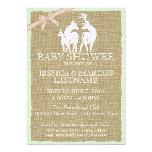 Woodland Baby Shower Deer and Burlap Personalized Invitations